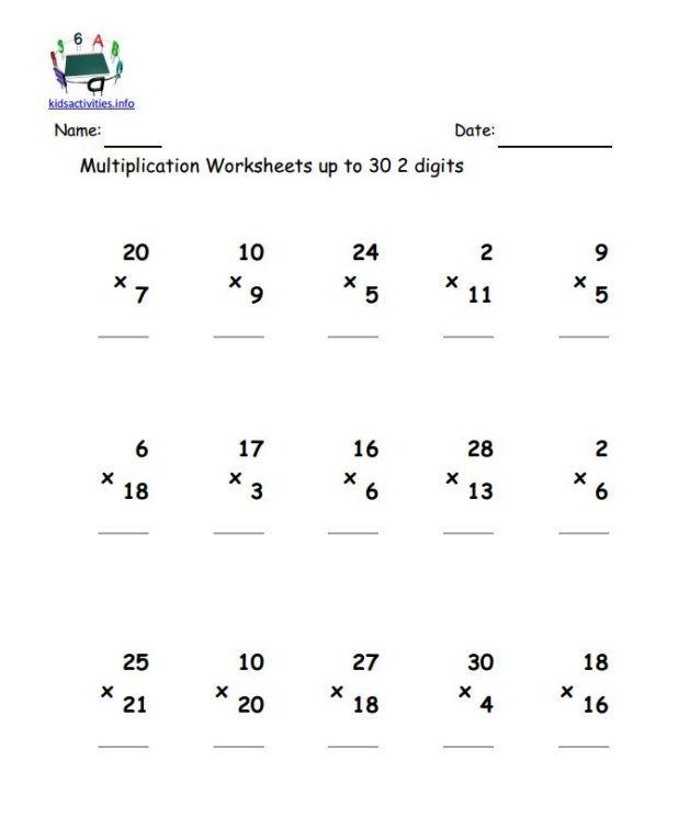 Double Digit Multiplication Worksheets Grade 4 Multiplication