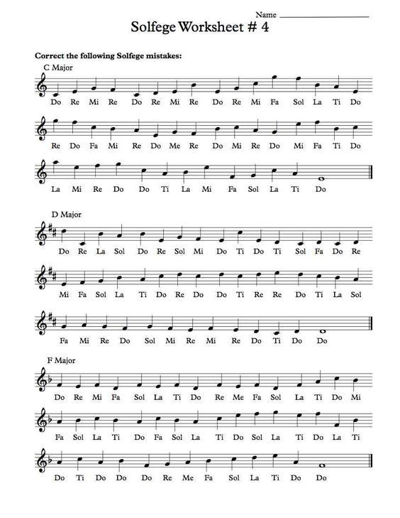 Free Solfege Worksheets For Classroom Instruction