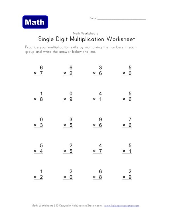 Easy Multiplication Worksheet 1