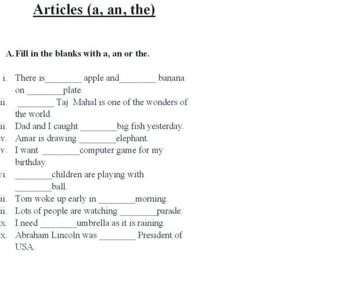 English Grammar Articles Worksheets Grade 4 For Class Worksheet