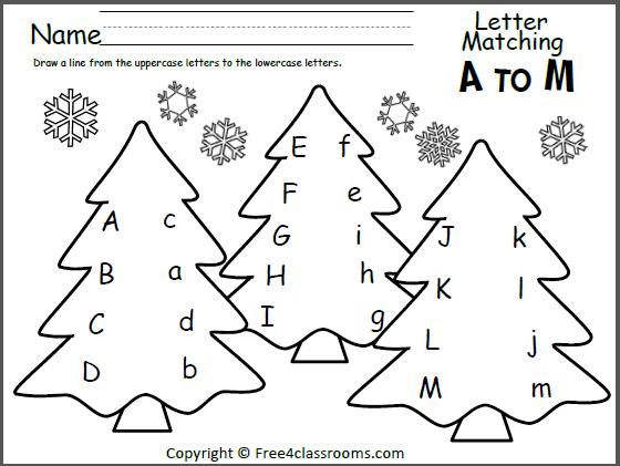 Free Tree Letter Matching A To M  Great Winter And Christmas