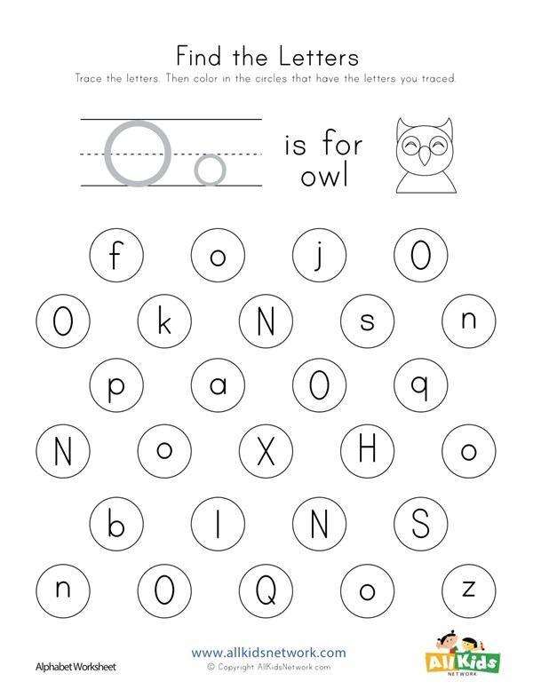 Find The Letter O Worksheet