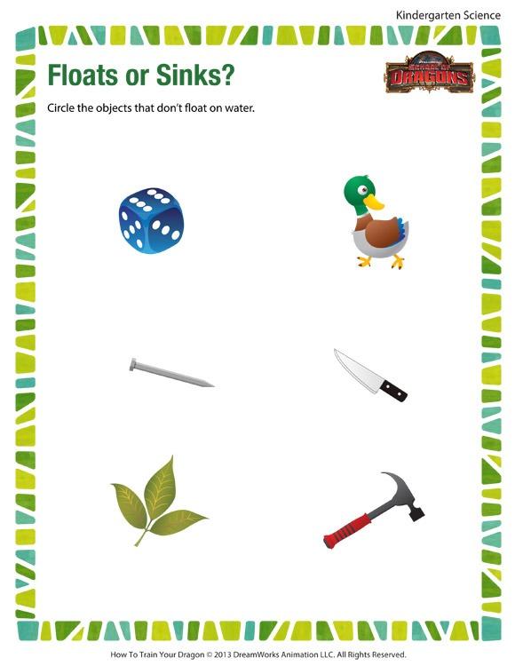 Floats Or Sinks Worksheet – Free Kindergarten Science Printables