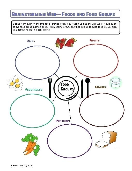 Five Food Groups Worksheets