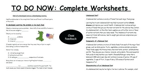 Food Worksheets For High School