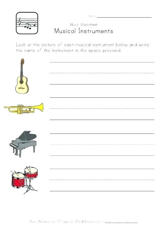 Free Music Worksheets Musical Instruments Printable For Middle