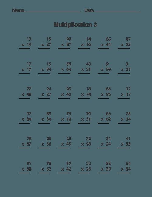 Multi Digit Multiplication Worksheets 2 Times 1 Careless Free