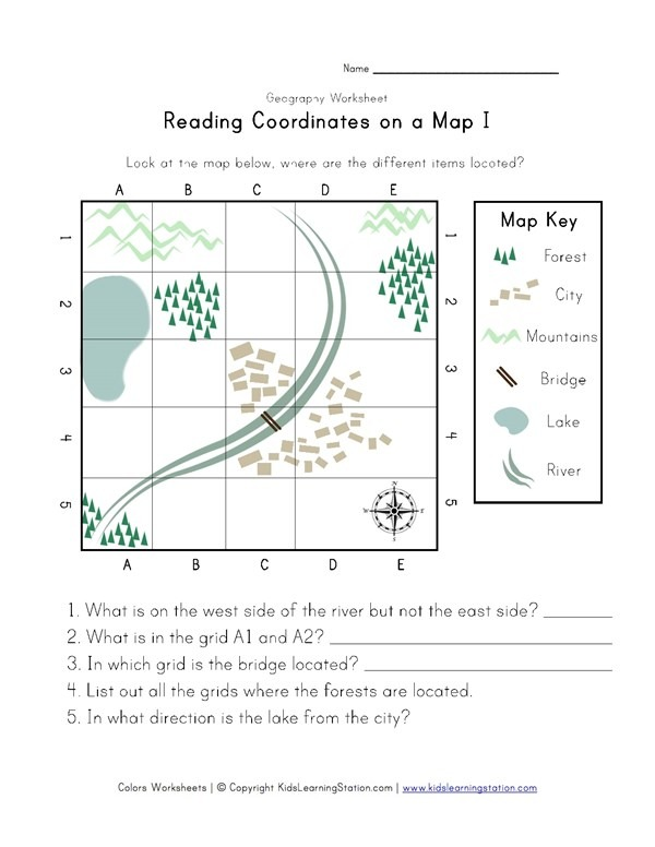 Reading Coordinates On A Map Worksheet