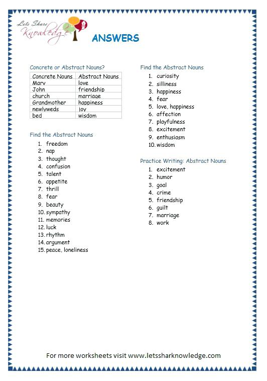 Grade 3 Grammar Topic 1 Abstract Nouns Worksheets Lets Share Page