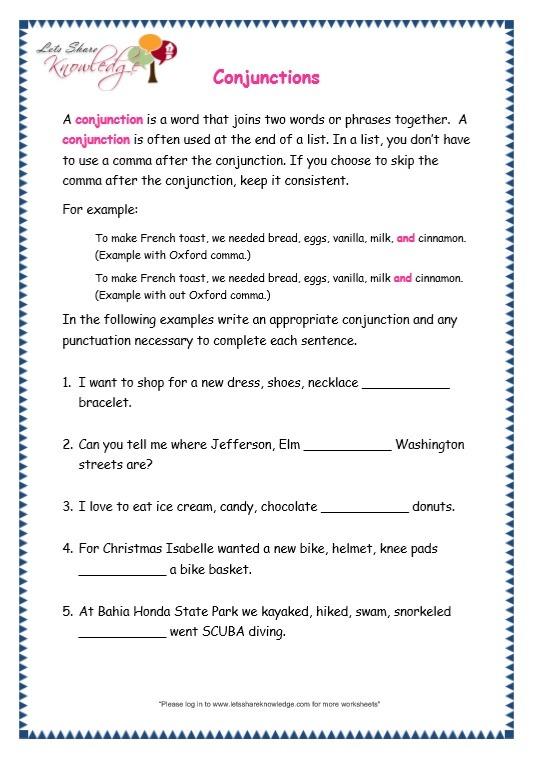 Grade 3 Grammar Topic 19  Conjunctions Worksheets