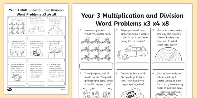Grade 3 Multiplication And Division Word Problems Worksheet