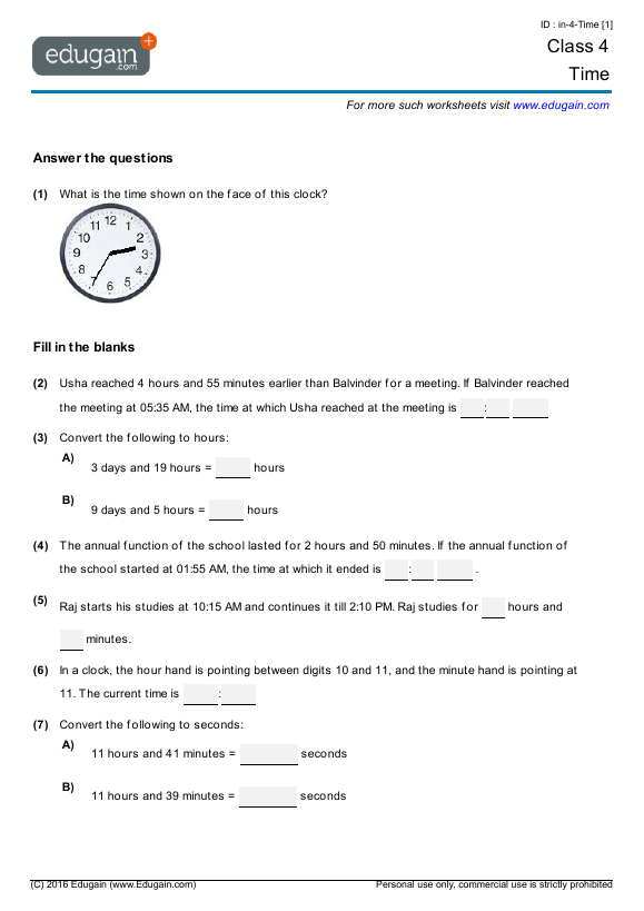 Class 4 Math Worksheets And Problems  Time