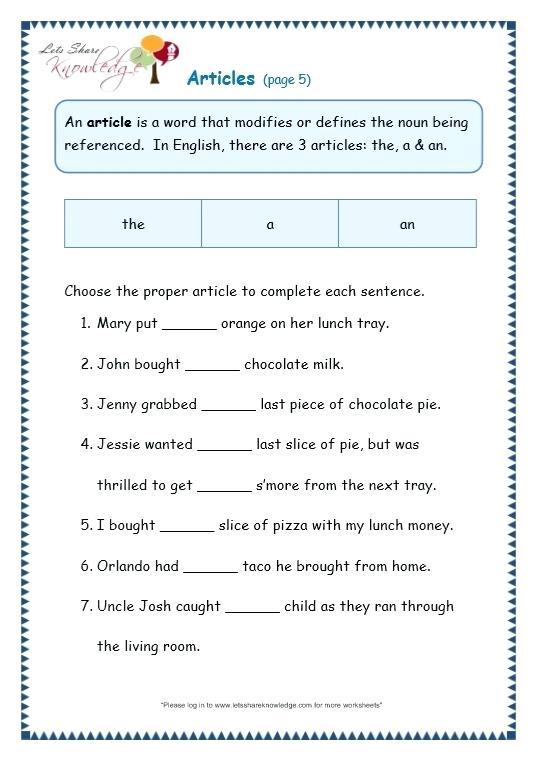 Grammar Worksheets For Grade 1 Page 5 Articles Words Worksheet