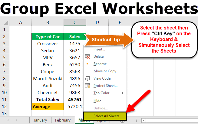 Group Worksheets In Excel (example)