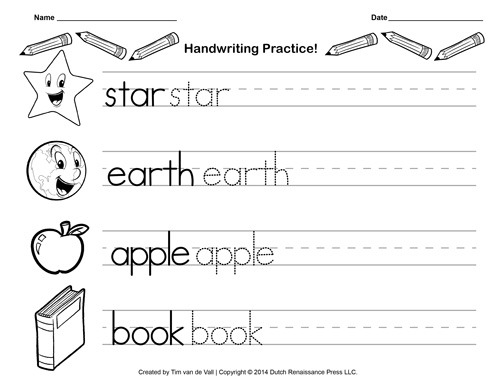Free Handwriting Practice Paper For Kids