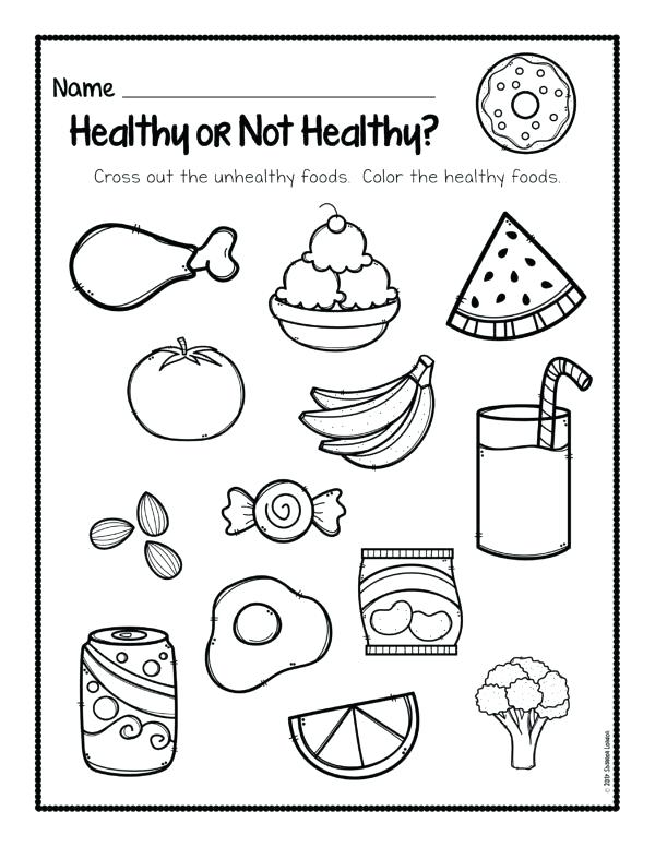 Junk Food Coloring Pages Drawing Healthy Eating Colouring Page And