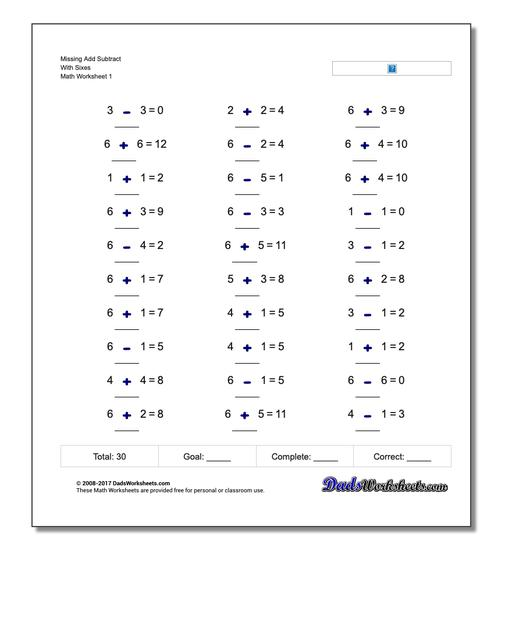 Adding And Subtracting Missing Operation Worksheets