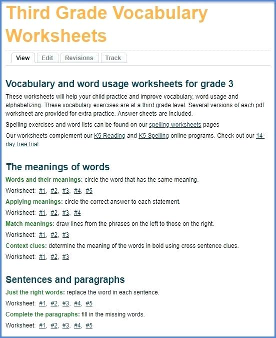 New Grade 3 Vocabulary Worksheets And Workbook Missing Words In