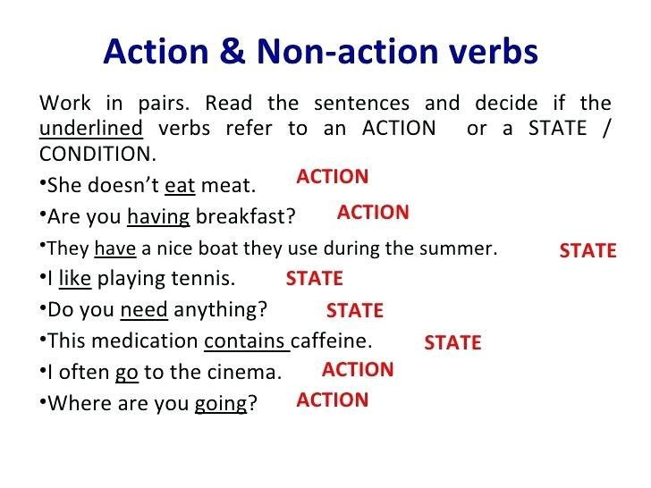 Non Action Verbs Worksheets Pdf