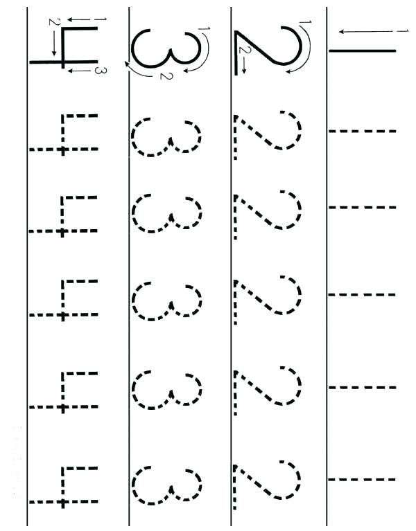 Number Tracing Worksheet Numbers 1 To 4 Preschool Math Worksheets