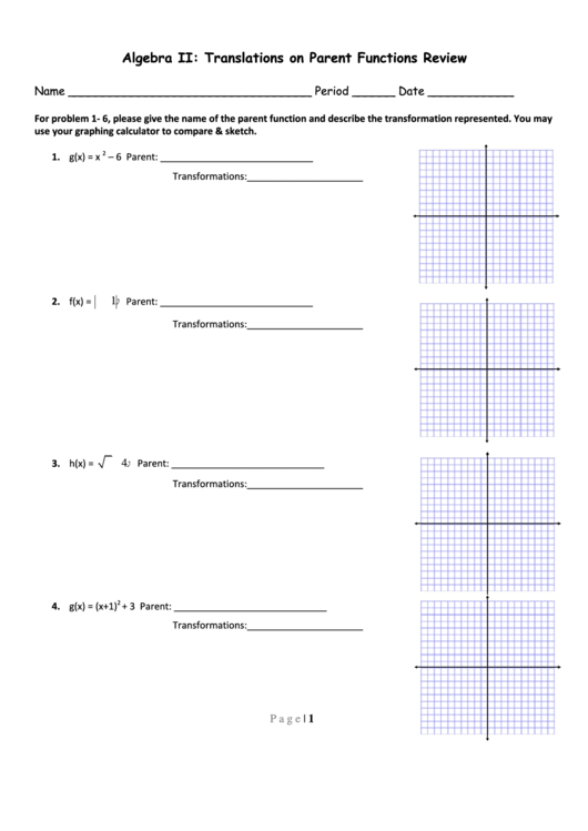 Translations On Parent Functions Review Worksheet Printable Pdf