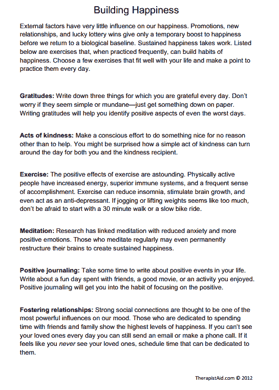 Building Happiness (exercises) (worksheet)