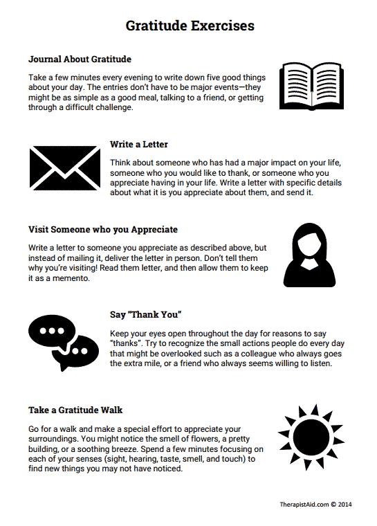 Gratitude Exercises (worksheet)