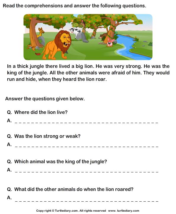 Reading Comprehension Lion Worksheet