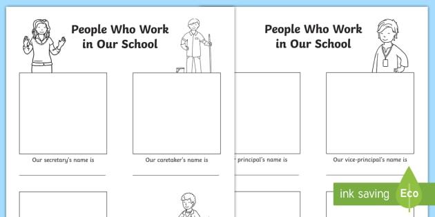 People Who Work In Our School Worksheet