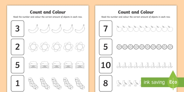Count And Colour Worksheet   Worksheet