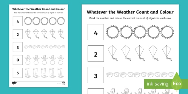Whatever The Weather Count And Colour Worksheet   Worksheet