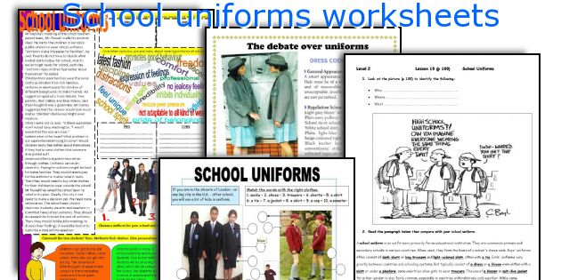 School Uniforms Worksheets