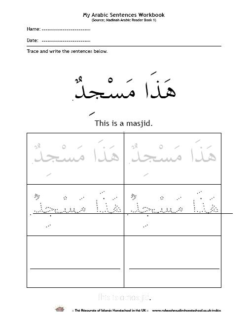 Basic Vocabulary And Short Sentences In Arabic For Kids 1a
