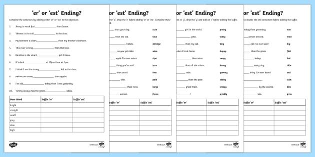 Er Or Est Suffix Worksheet