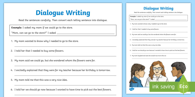 Dialogue Writing Worksheet
