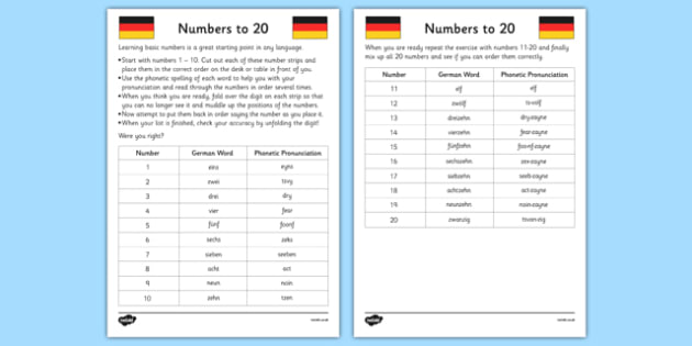 Numbers To 20 In German Worksheet   Worksheet