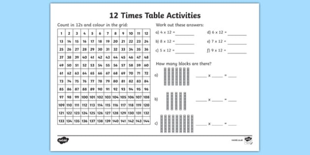 12 Times Table Worksheet   Worksheet