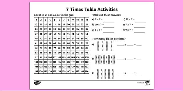 Ks2 Maths Worksheet  7 X Table