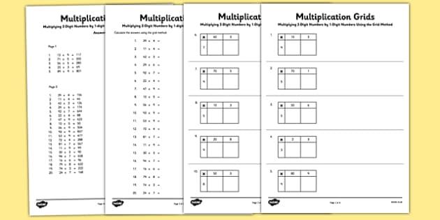 Grid Method Multiplication Worksheet Pack