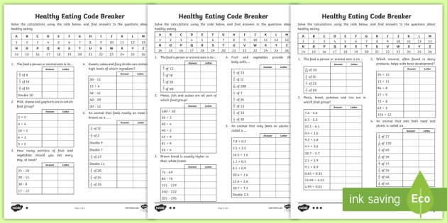 Lks2 Healthy Eating Code Breaker Maths Worksheet