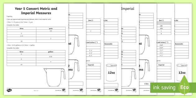 Year 5 Convert Metric And Imperial Measures Worksheets