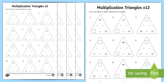 Multiplication Triangles  2 To 12 Times Tables Worksheets