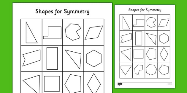 Shapes For Symmetry Worksheet