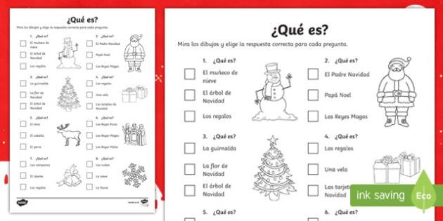 Christmas Quiz Worksheet   Worksheet Spanish