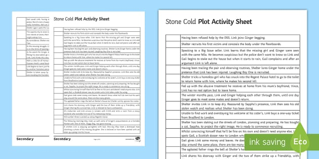Plot Sequence Worksheet   Worksheet To Support Teaching On 'stone