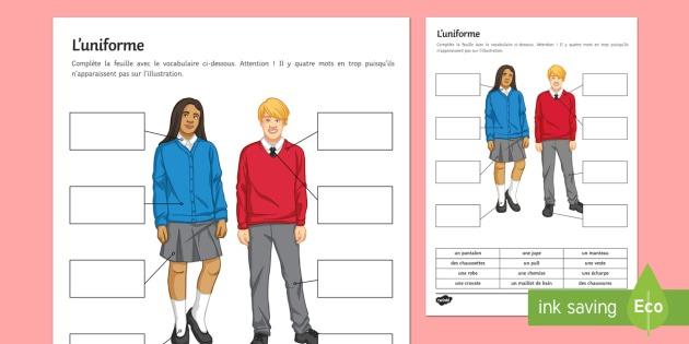 School Uniform Worksheet   Worksheet French