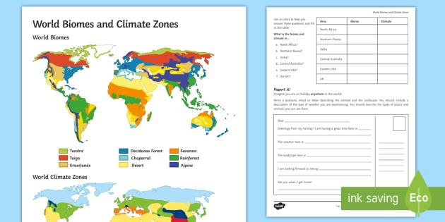 World Biomes And Climate Zones  Map Worksheet   Worksheet