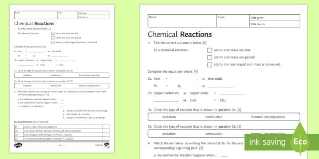 Chemical Reactions Worksheet