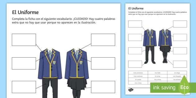 School Uniform Worksheet   Worksheet Spanish