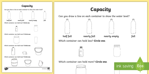 Everyday Objects Capacity Worksheet   Worksheet